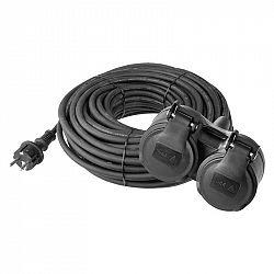 Emos Prodlužovací kabel gumový – 2 zásuvky, 25m, 3× 1,5mm2, IP44 P0604