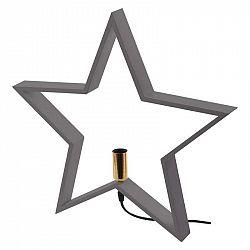 Emos Svícen na žárovku E14 dřevěný šedý, hvězda, 48cm, vnitřní ZY2216