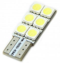 Interlook LED auto žárovka LED W5W T10 6 SMD 5050 CAN BUS SIDE