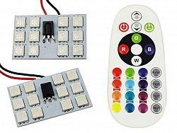 Interlook Panel LED RGB 12-chip 2x6 + adaptéry C5W a W5W s IR ovladačem