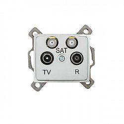 Kanlux 24868 DOMO Zásuvka dvojitá SAT-SAT-TV-R koncová - stříbrná