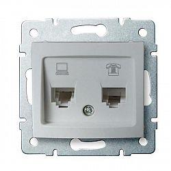 Kanlux 24875 DOMO Zásuvka datová-telefonní, (RJ45Cat 5e+RJ11) - stříbrná