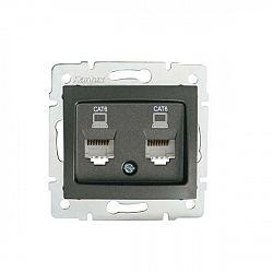 Kanlux 24933 DOMO Dvojitá datová zásuvka , nezávislá (2xRJ45Cat 6 Jack) - grafit