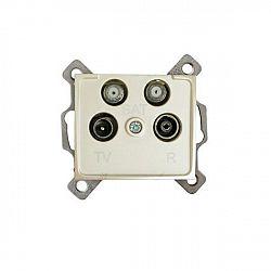Kanlux 24986 DOMO Zásuvka dvojitá SAT-SAT-TV-R koncová - perleťově bílá