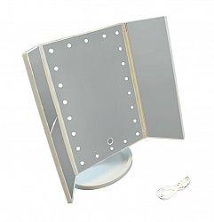 LED21 AG628B Kosmetické zrcátko skládací s LED osvětlením, bílé