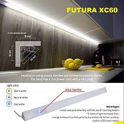 LED21 FUTURA XC60 nábytkové rohové svítidlo pod skříňky se spínačem 18W/m 1800mm FUTX-1800