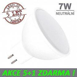 LED21 LED žárovka 7W GU5.3 500lm 12V DC Neutrální bílá, 5+1 ZDARMA