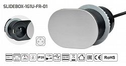 LED21 Slidebox zásuvkový blok s posuvným krytem, 1 zásuvka + 1 port USB, černá / stříbrná