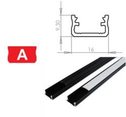LEDLabs Hliníkový profil LUMINES A 2m pro LED pásky, černý
