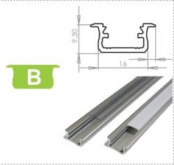 LEDLabs Hliníkový profil LUMINES B zápustný 2m pro LED pásky, stříbrný eloxovaný