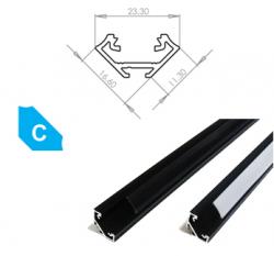 LEDLabs Hliníkový profil LUMINES C 2m pro LED pásky, eloxovaný černý