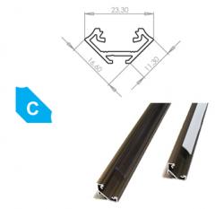 LEDLabs Hliníkový profil LUMINES C 2m pro LED pásky, eloxovaný inox