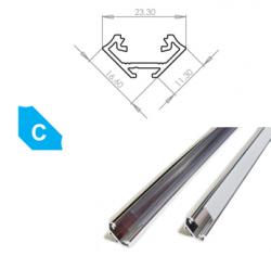 LEDLabs Hliníkový profil LUMINES C 2m pro LED pásky, hliník