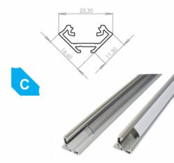 LEDLabs Hliníkový profil LUMINES C 3m pro LED pásky, eloxovaný stříbrný