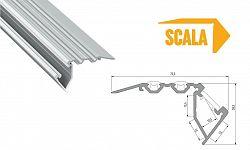 LEDLabs Hliníkový profil schodišťový LUMINES SCALA 1m pro LED pásky, eloxovaný stříbrný