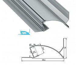 LEDLabs Hliníkový profil TOPO 1m pro LED pásky, eloxovaný stříbrný